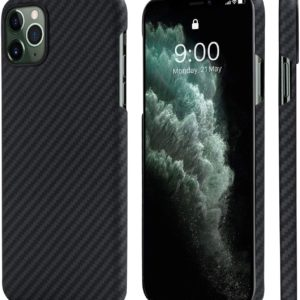 """PITAKA Phone Case Compatible with iPhone 11 Pro Max 6.5"""" Minimalist MagEZ Case Aramid Fiber [Body Armor Material] Super Slim Magnetic Case,Strongest Durable Snugly Fit Cover- Black/Grey(Plain)"""