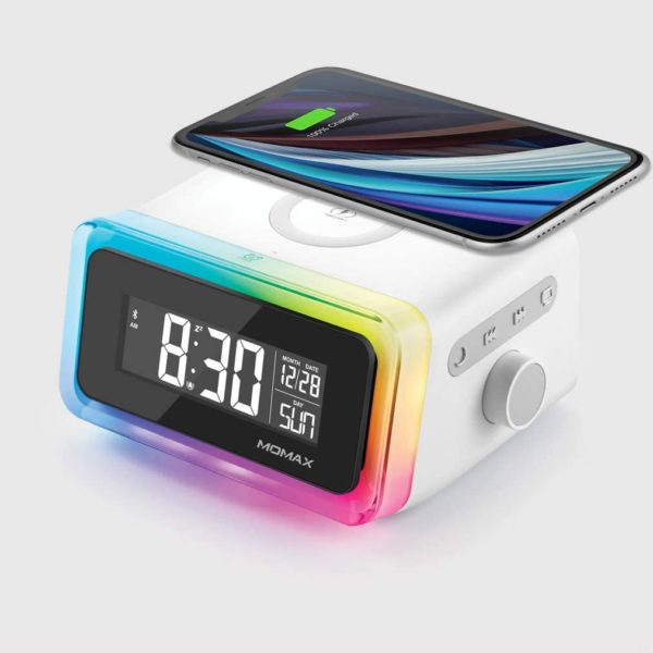 MOMAX 4-in-1 Digital Alarm Clock with Wireless Charging Station and Bluetooth 5.0 Speaker Colourful Smart LED Night Lighting Bedside QI Charger Music Player MP3 Multifunctional Room Décor QC2CNW